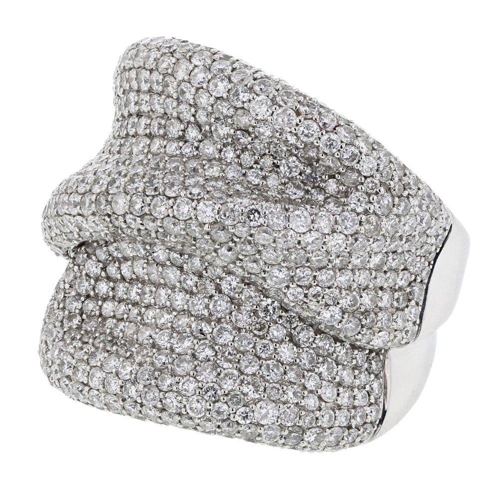 Genuine 5.55 CTW White Diamond 14K White Gold Ring