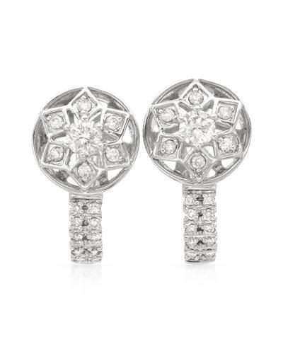 Genuine 0.67 CTW White Diamond 14K White Gold Earrings