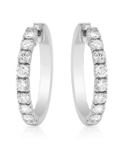 Genuine 1.50 CTW White Diamond 18K White Gold Earrings