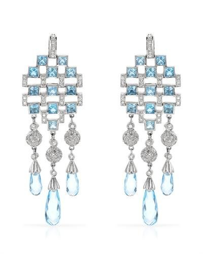Genuine 16.62 CTW White Diamond, Blue Topaz 18K White