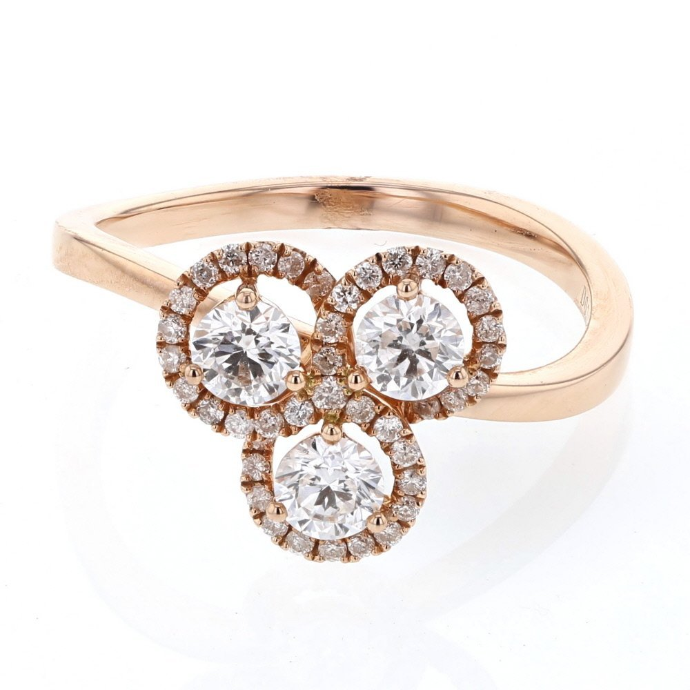 Genuine 0.72 CTW White Diamond 14K White Gold Ring