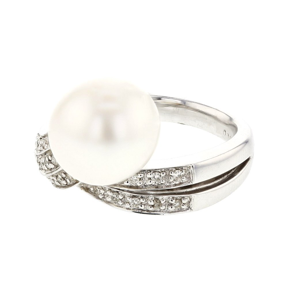 Genuine 11.2 CTW Pearl, White Diamond 18K White Gold