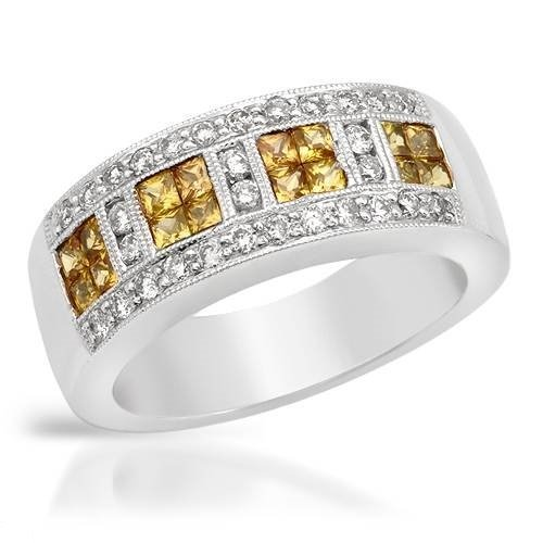 Genuine 1.08 CTW White Diamond, Yellow Sapphire 14K
