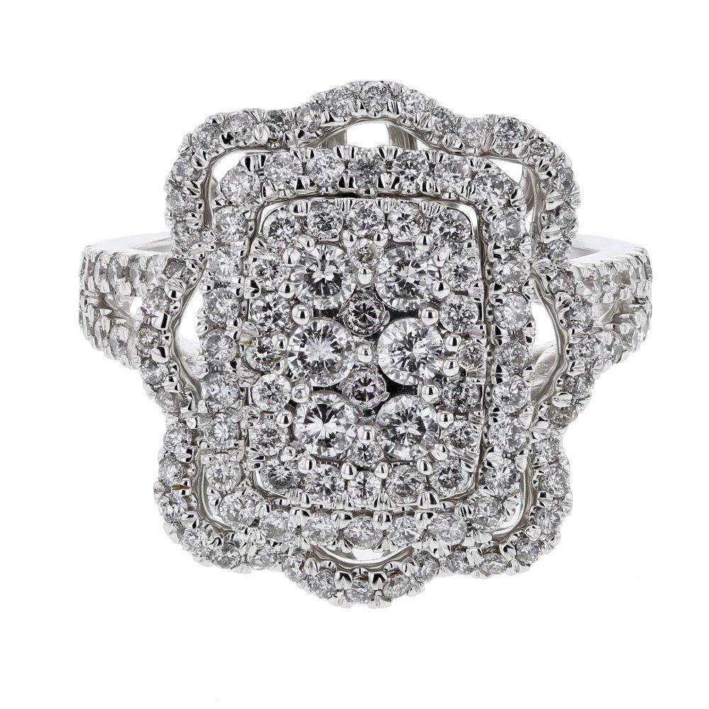 Genuine 1.42 CTW White Diamond 14K White Gold Ring