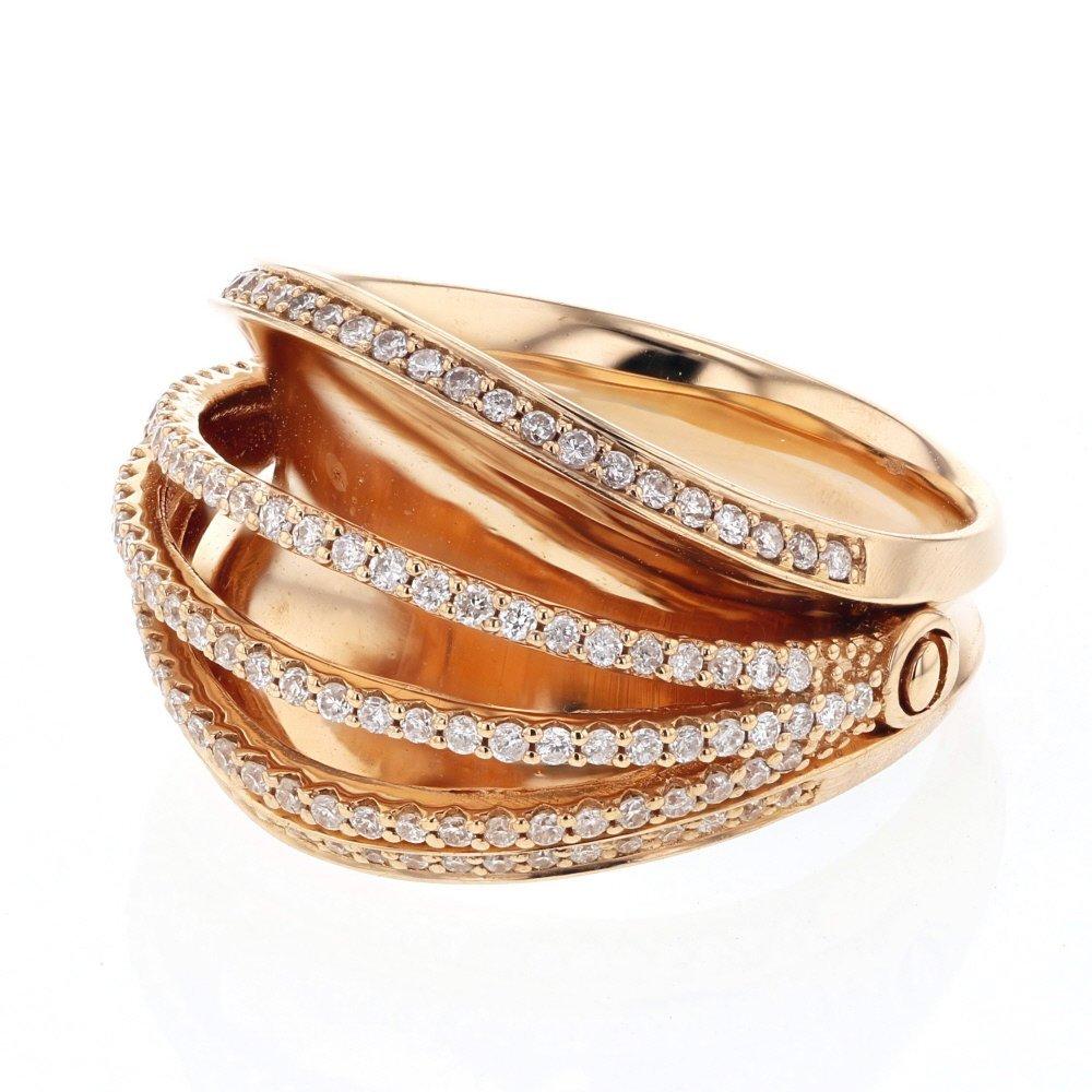 Genuine 0.56 CTW White Diamond 18K Rose Gold Ring