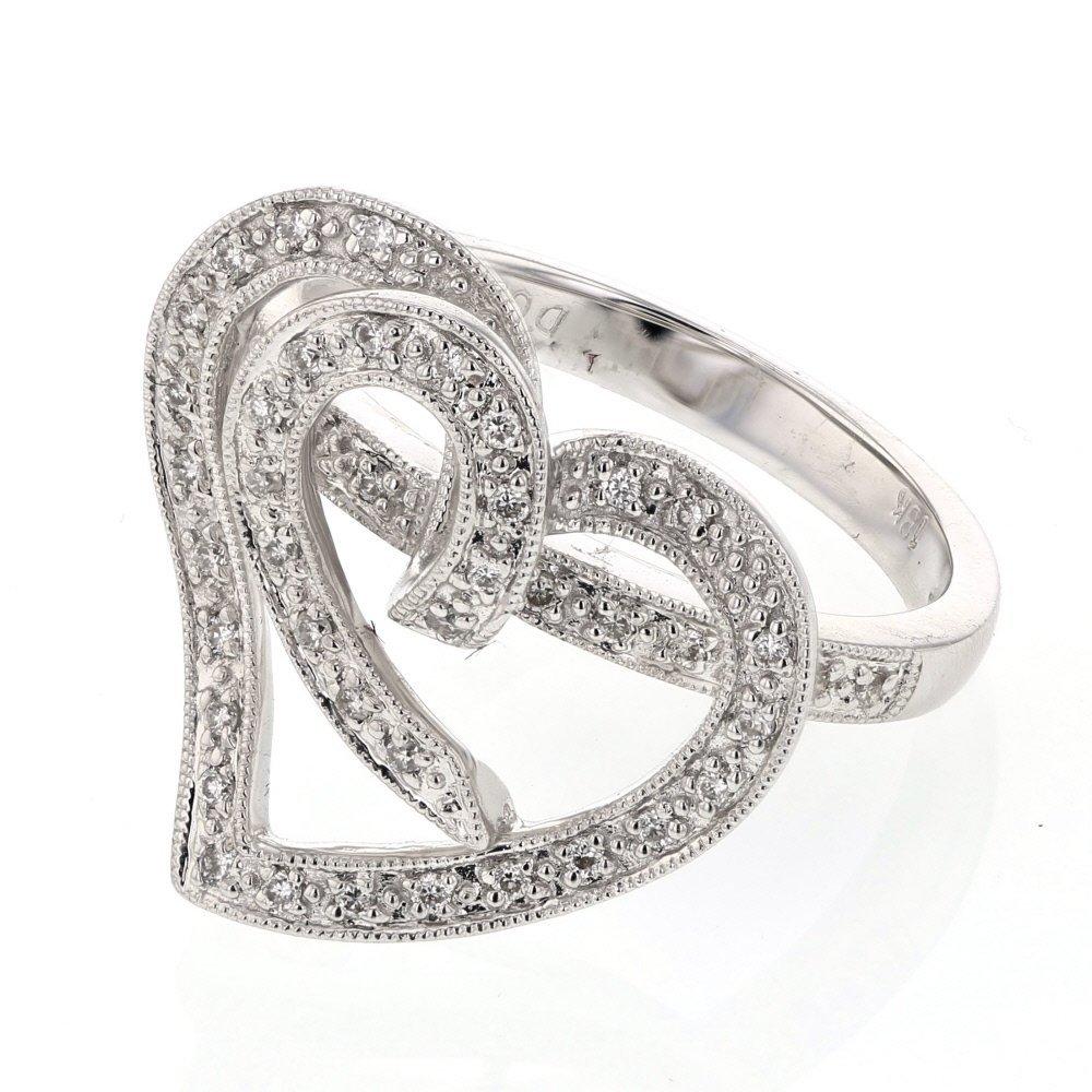 Genuine 0.22 CTW White Diamond 18K White Gold Ring