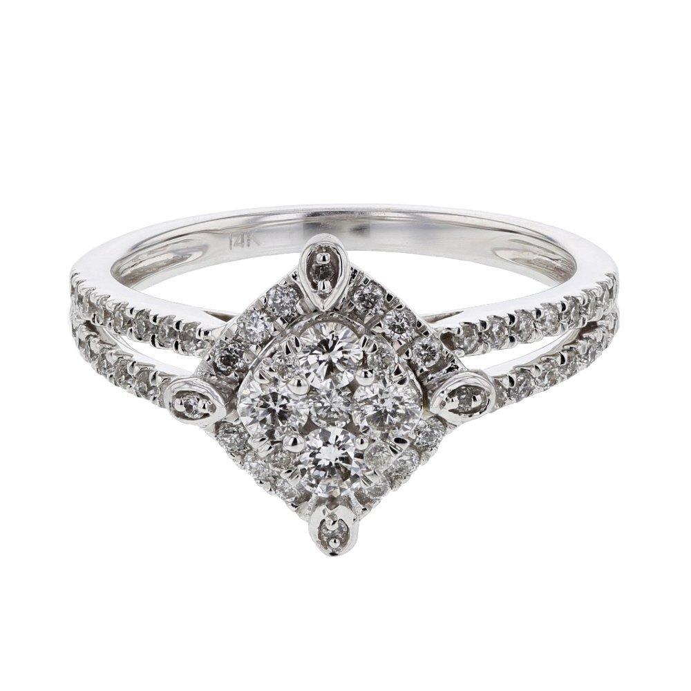 Genuine 0.60 CTW White Diamond 14K White Gold Ring