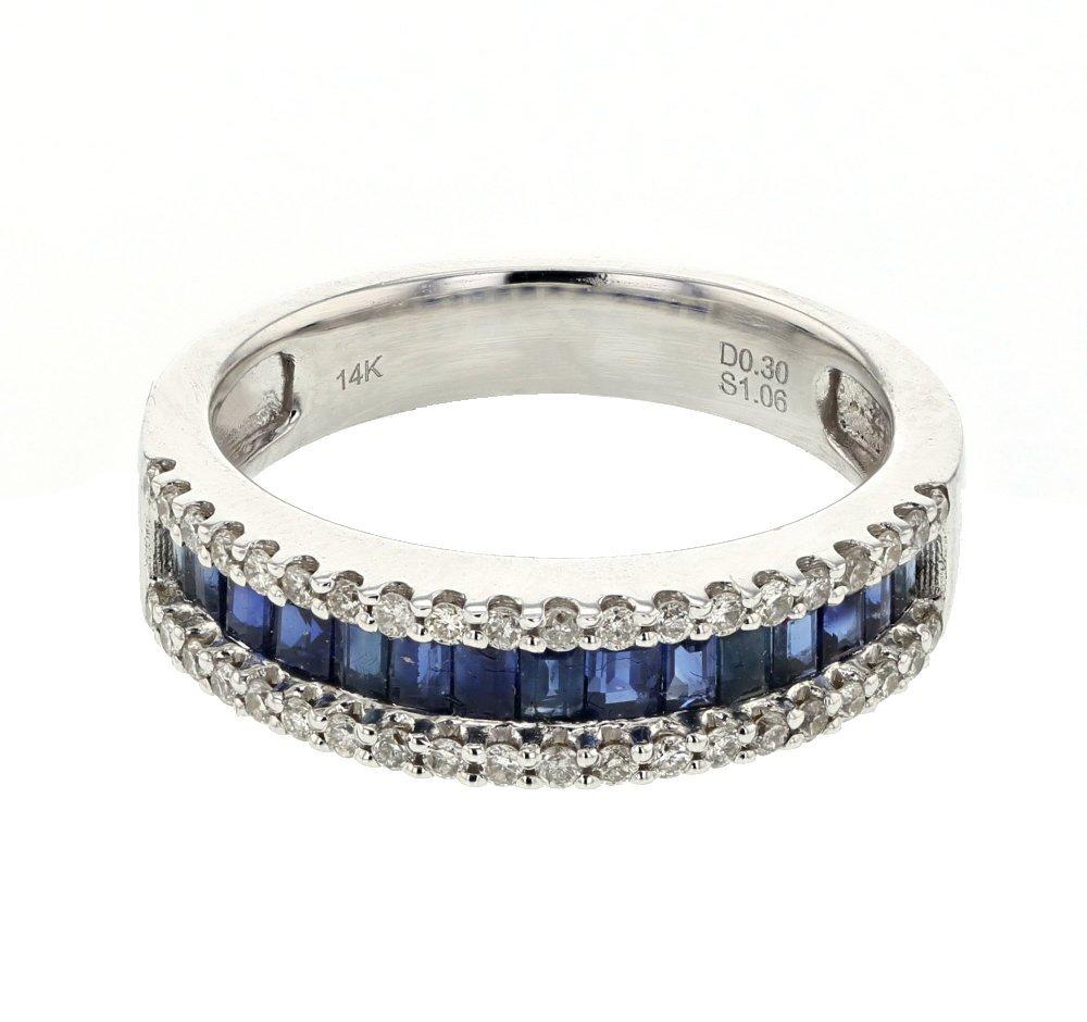 Genuine 1.36 CTW Sapphire, White Diamond 14K White Gold
