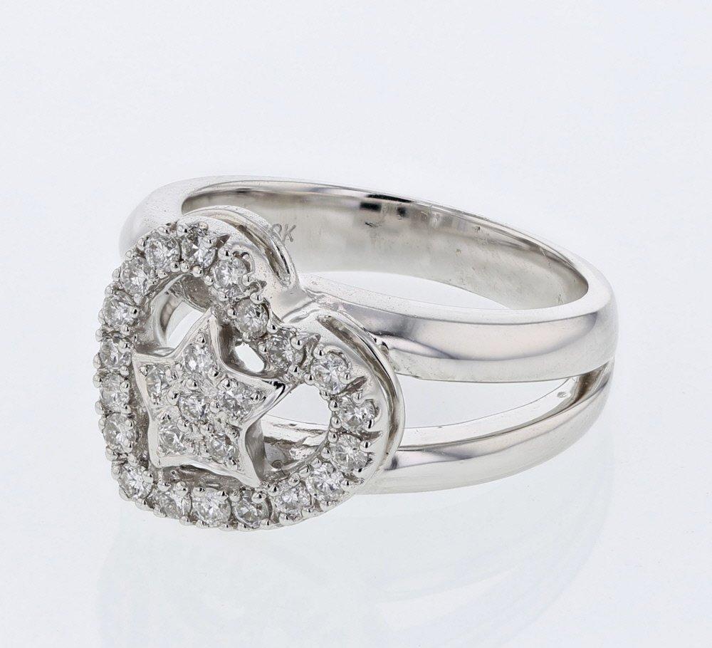 Genuine 0.47 CTW White Diamond 14K White Gold Ring