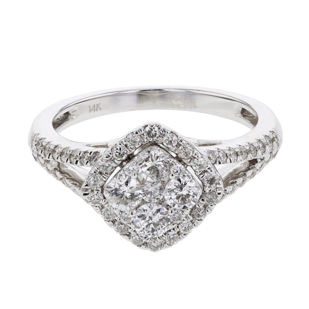 Genuine 0.98 CTW White Diamond 14K White Gold Ring