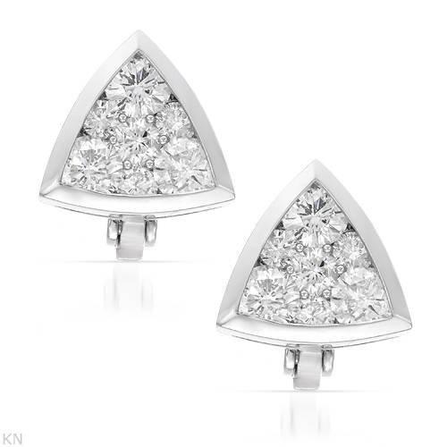 Genuine 2 CTW White Diamond 14K White Gold Earrings