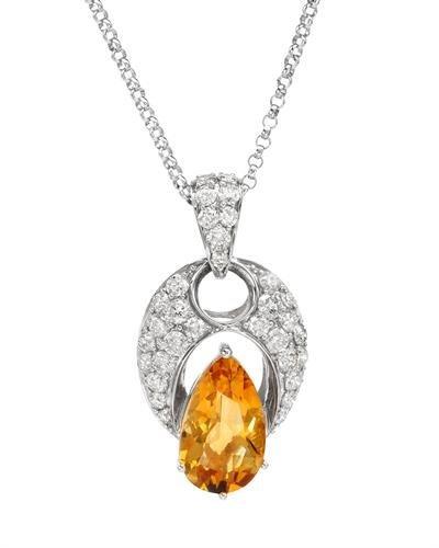 Genuine 6.3 CTW Citrine, White Diamond 14K White Gold