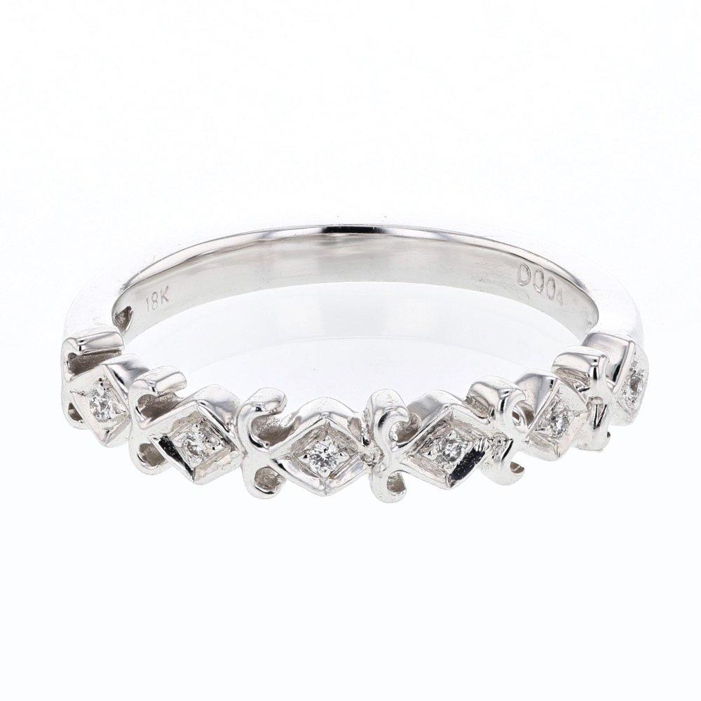 Genuine 0.04 CTW White Diamond 18K White Gold Ring