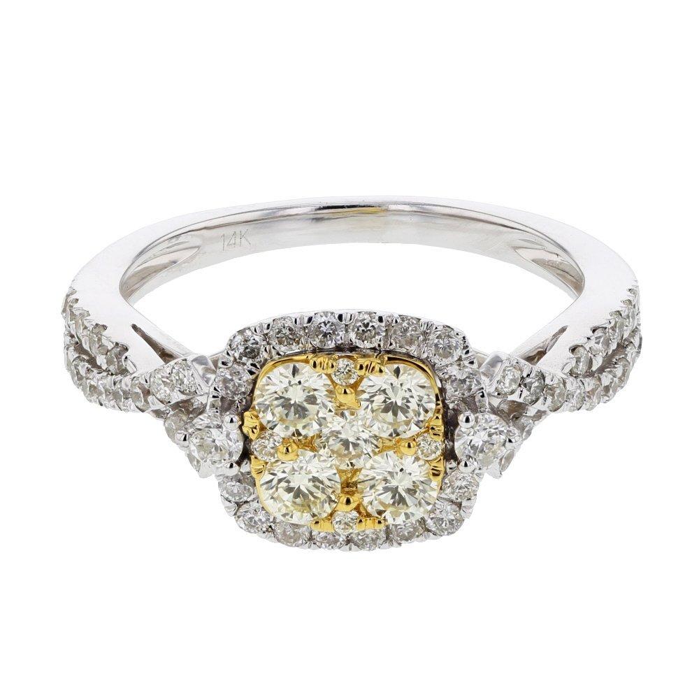 Genuine 0.96 CTW White Diamond, Yellow Diamond 14K