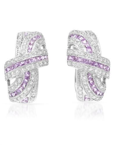 Genuine 1 CTW White Diamond, Pink Sapphire 18K White