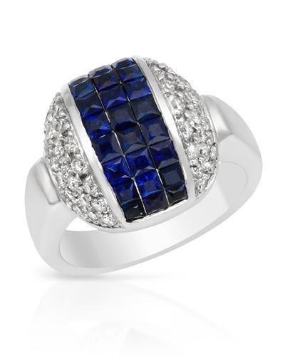 Genuine 2.18 CTW White Diamond, Sapphire 18K White Gold
