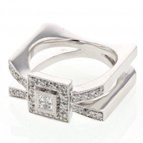 Genuine 0.40 Ctw White Diamond, Princess Diamond 14k