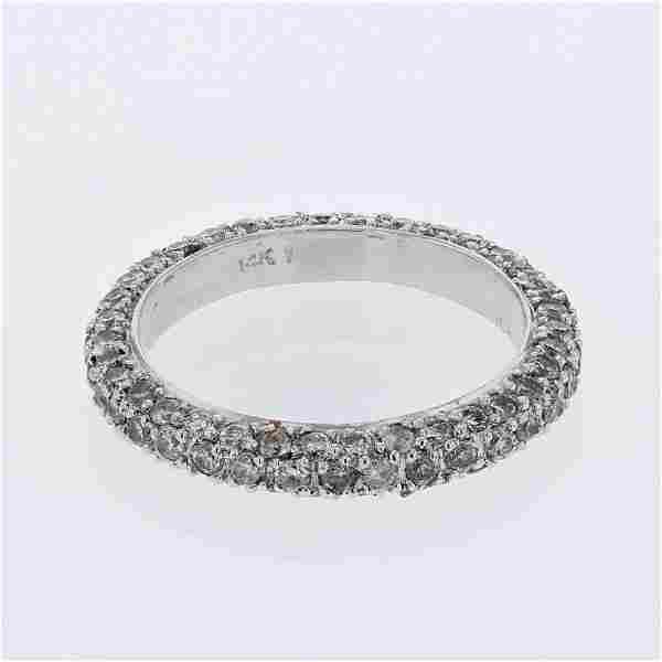 Pave-set Round Diamond Eternity Band in 14K White Gold