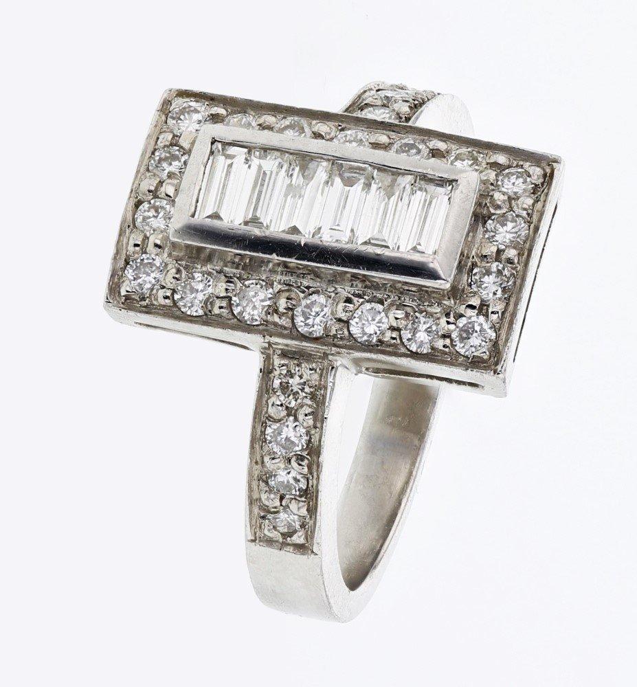 Baguette & Round Diamond Ring in Platinum