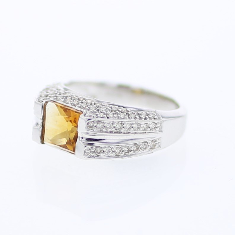 Princess Citrine Split-Shank Diamond Cocktail Ring in