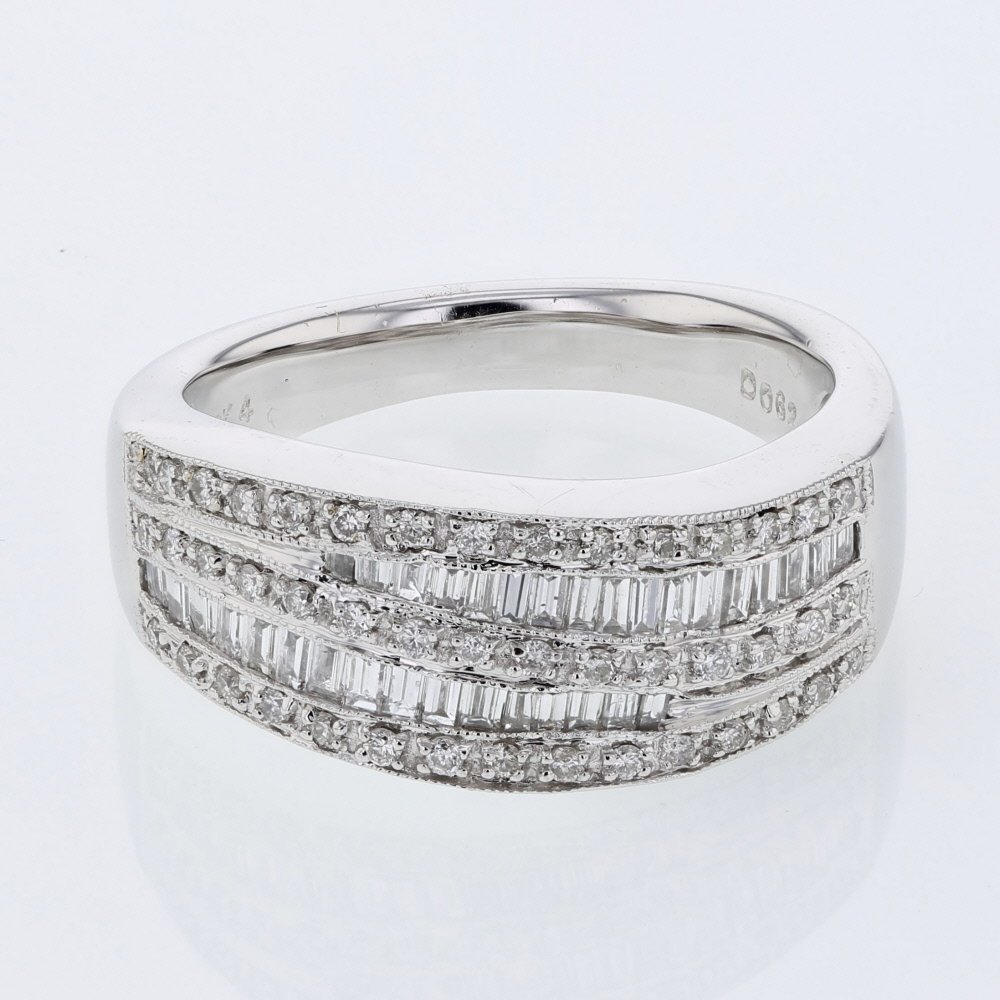 Baguette & Round Diamond Ring w/ Channel & Prong-set in