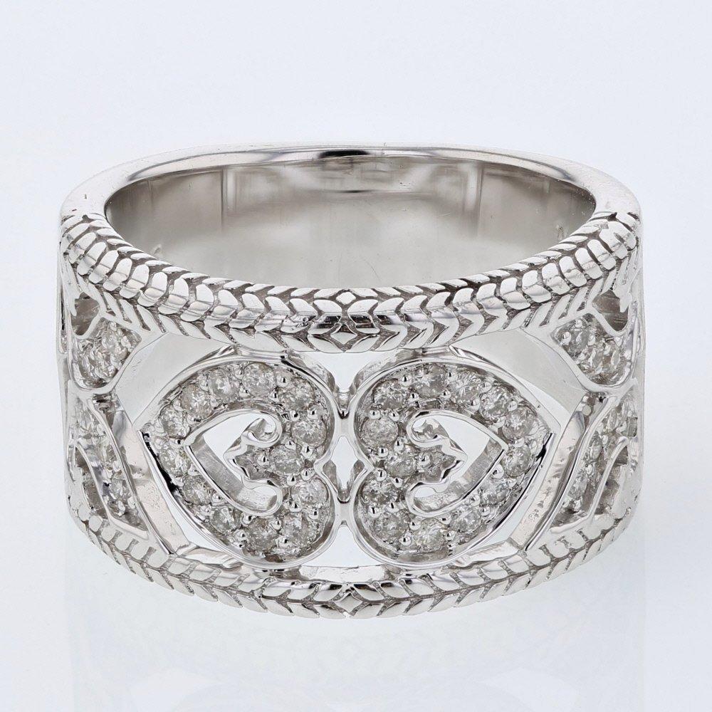 2 Hearts w/ Rope design edges Diamond Ring in 14K White