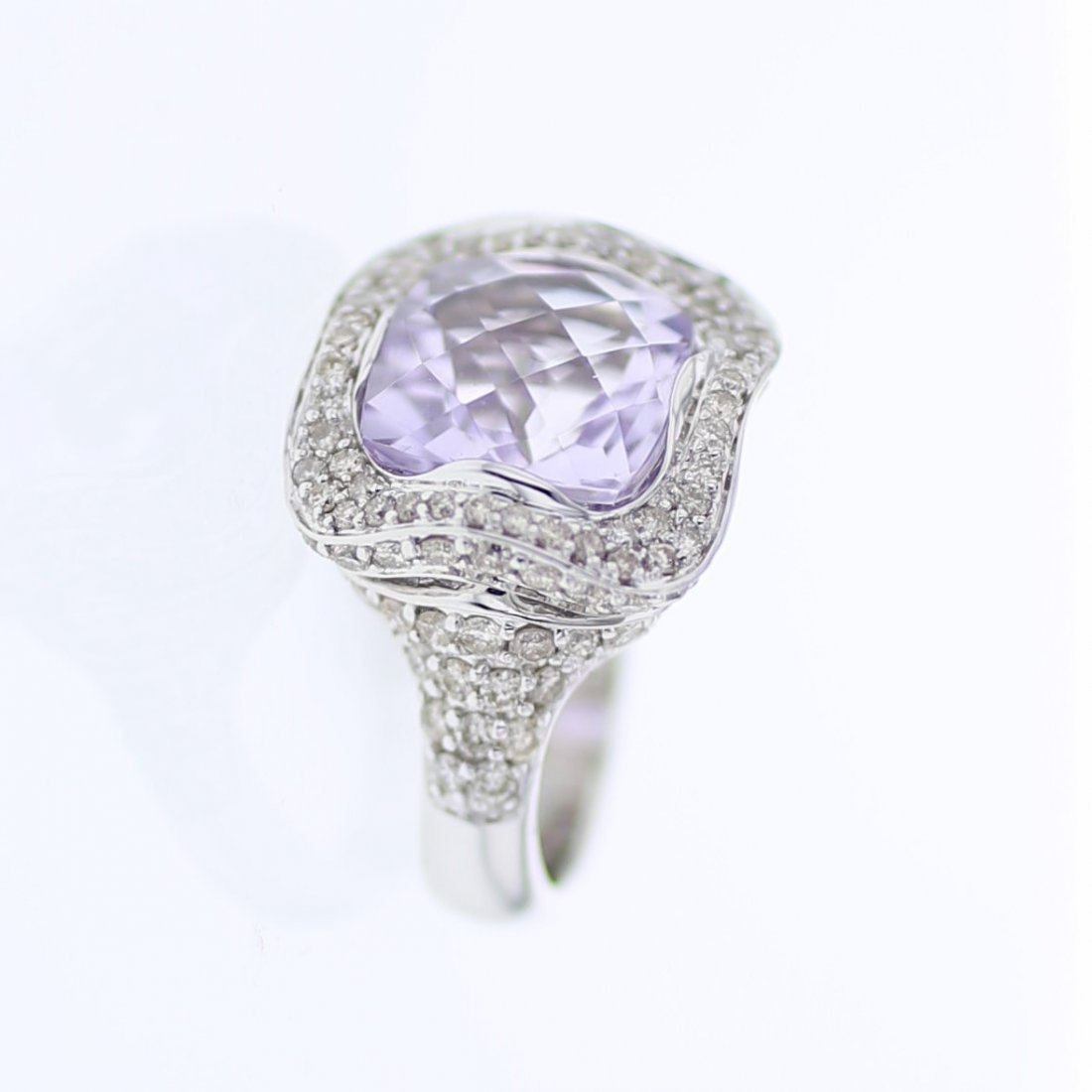 Cushion Bezel-set Pink Amethyst Diamond Ring in 14K