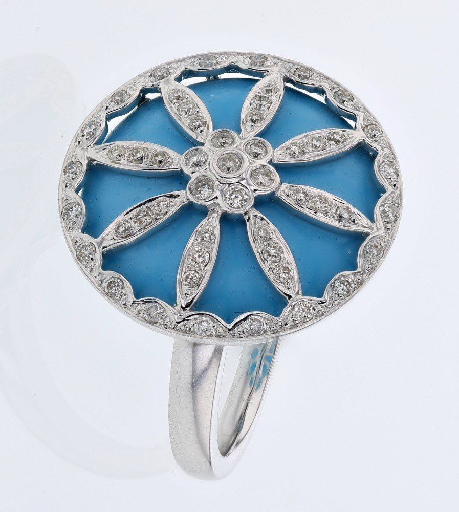 Turqouise Inlay w/ Flower Design Diamond Ring in 14K