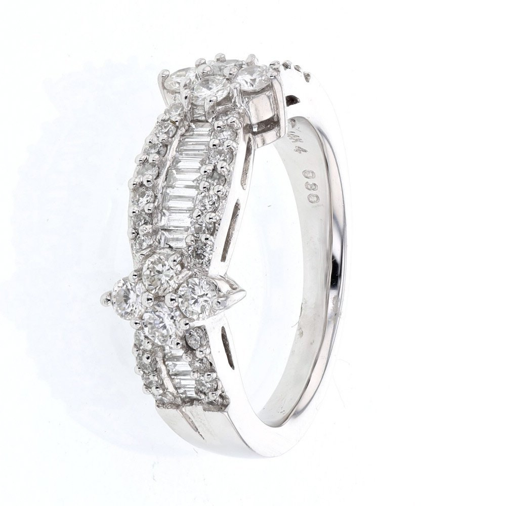 Baguette & Round Channel & Prong-set Diamond Band in