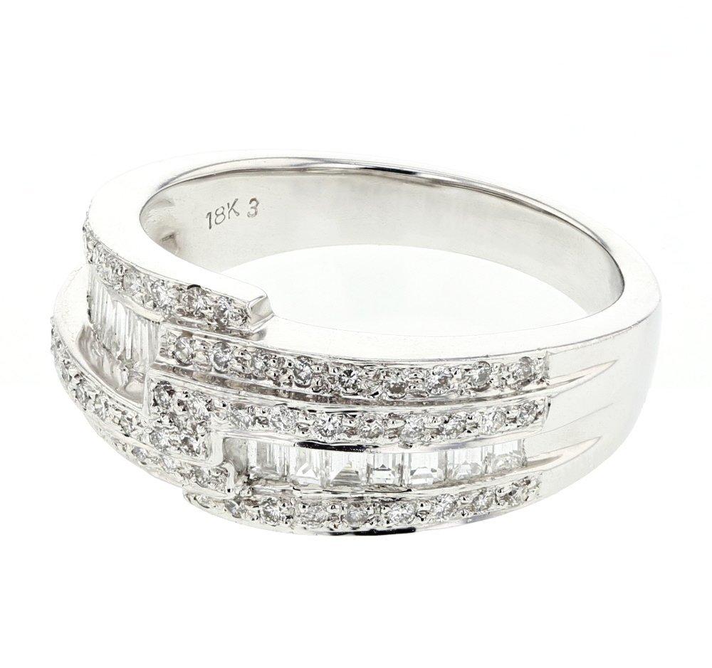 Baguette & Round Bypass Shank Diamond Ring in 18K White