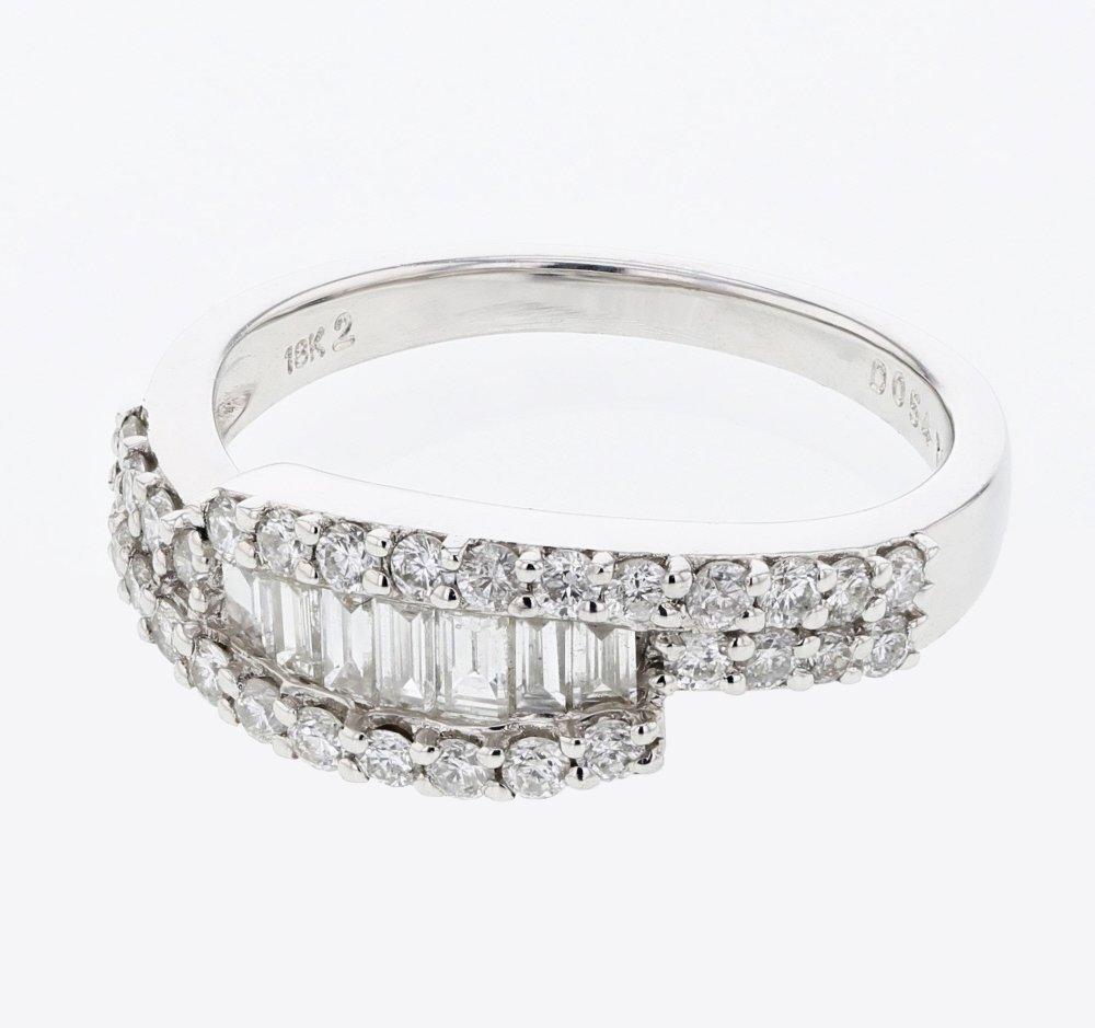 Baguette & Round Diamond Ring in 18K White Gold