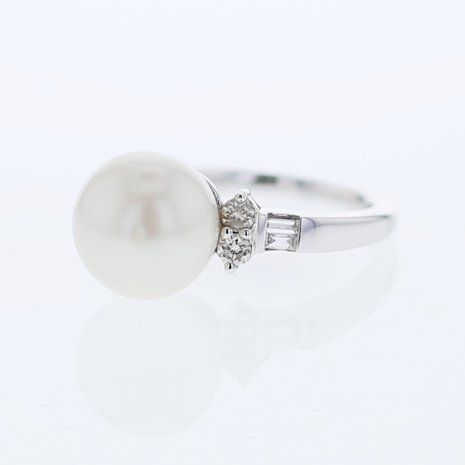 South Sea Pearl with Diamond Accent Ring in 14K White