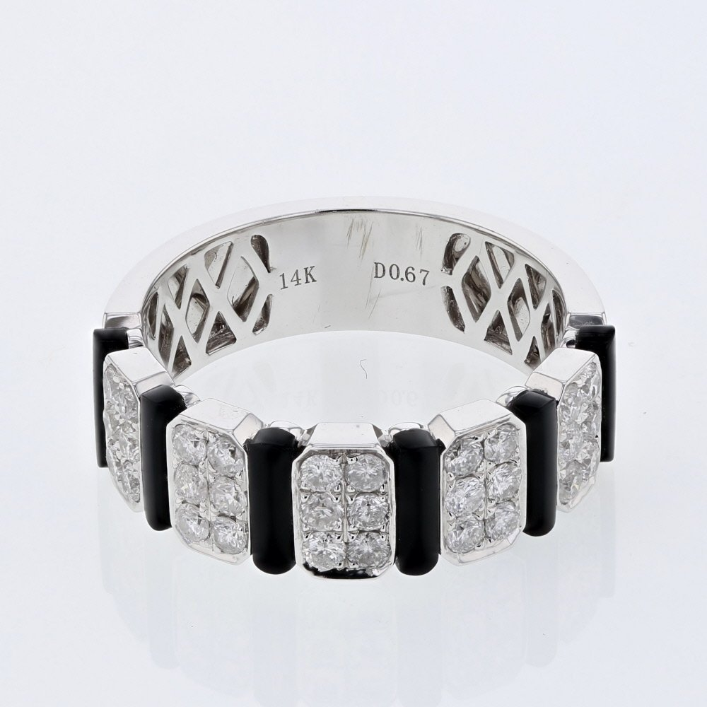 Round Prong-Set Diamond with Onyx Accent Ring in 14K