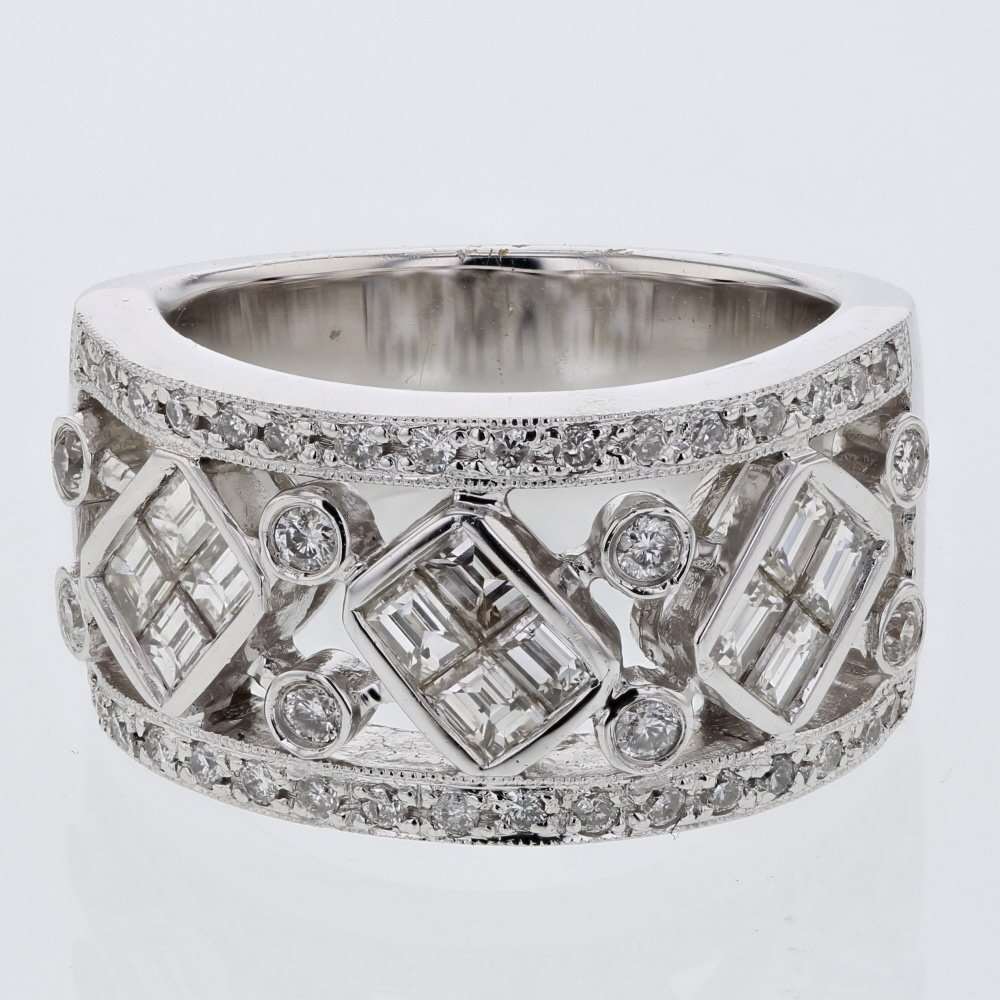 Baguette & Round Halfway Diamond Band in 18K White Gold