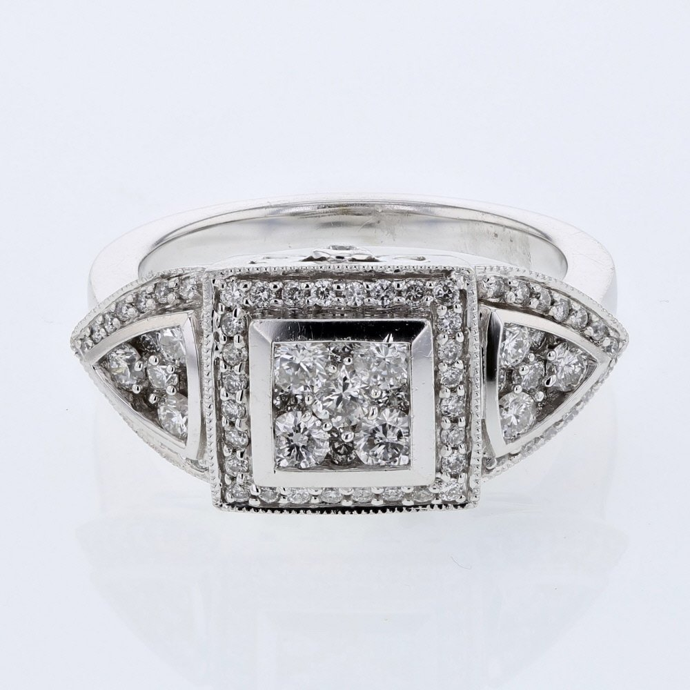 Round Shape Cluster Diamond Ring in 14K White Gold