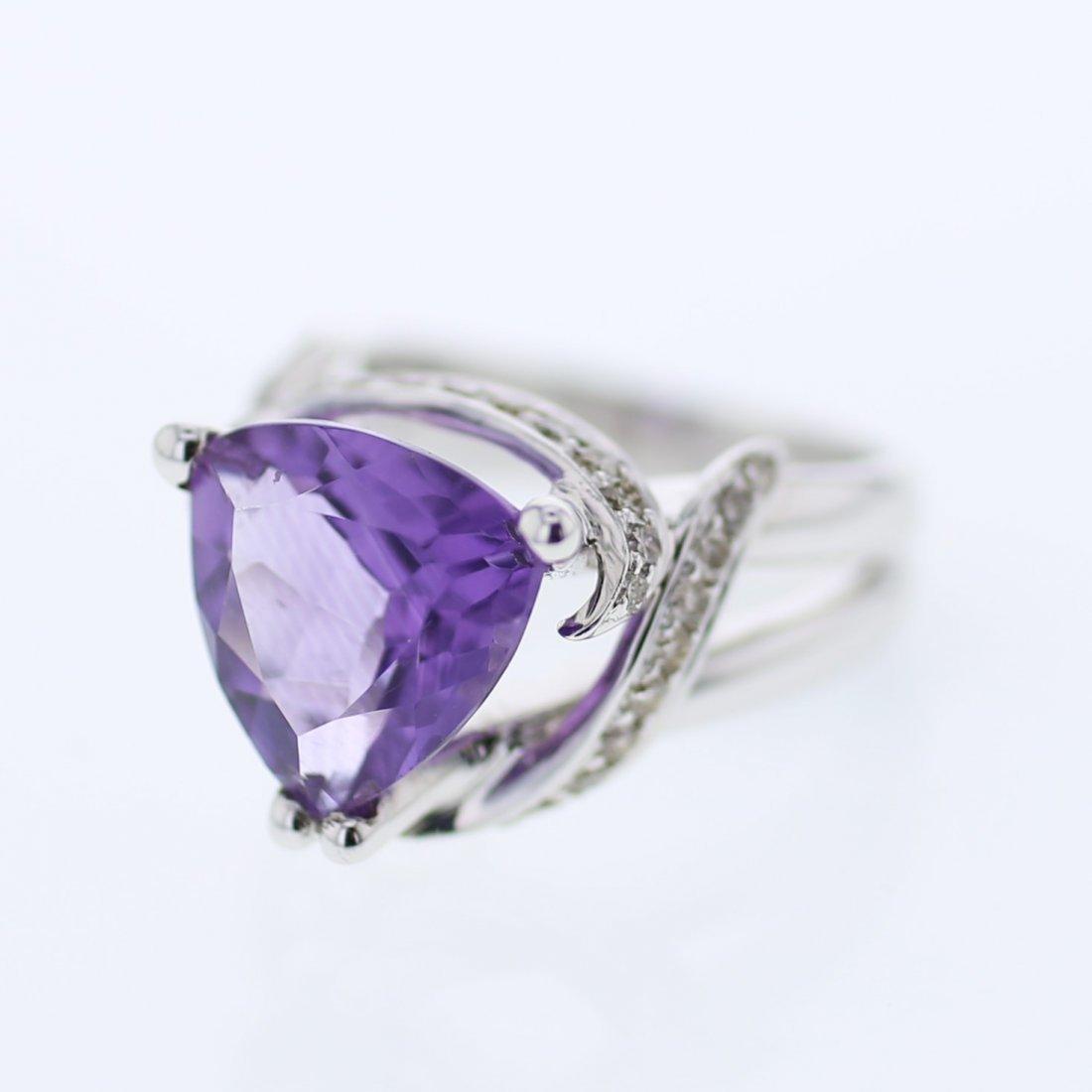 Trillian Amethyst Antique Diamond Cocktail Ring in 14K