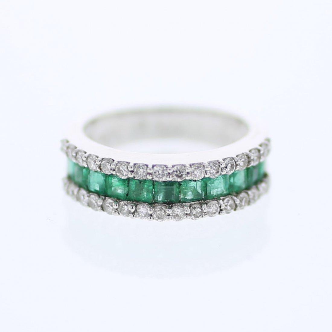 Princess Emerald w/ Round Prong-set Diamond Eternity