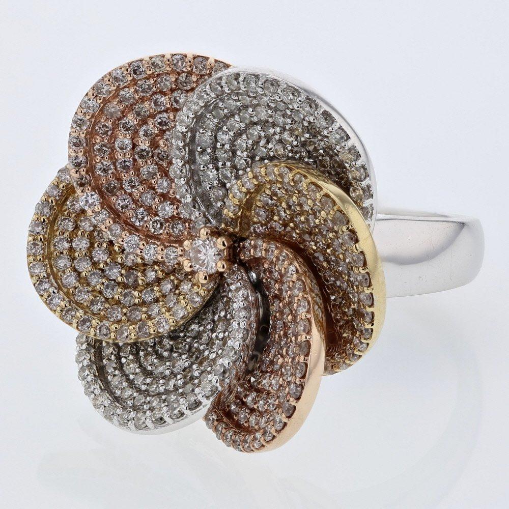 Pave-set Flower Diamond Ring in 14K Tri-color Gold