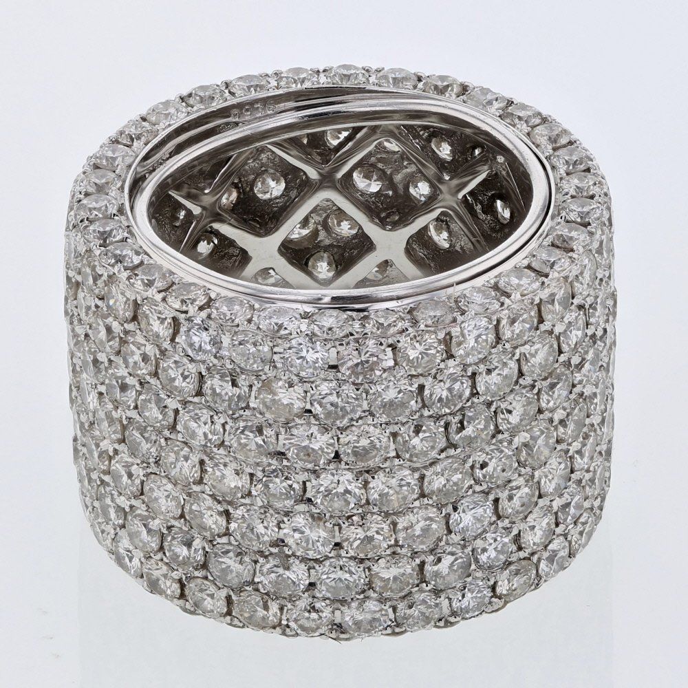 7-row Pave-set Wide Diamond Band in 18K White Gold