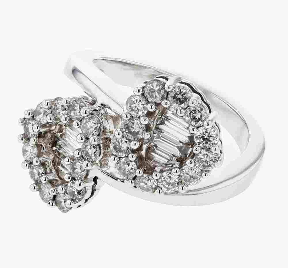 Double Heart Desgn with Round and Baguette Diamond Ring