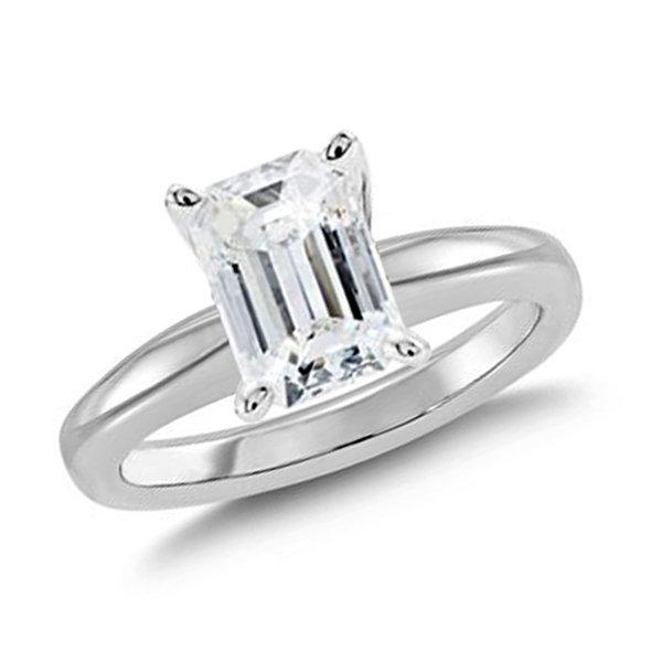 2.02 CT Emerald Cut Diamond 18K Gold Ring GIA Cert