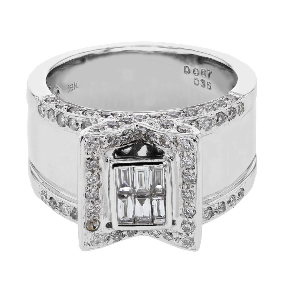 Wide Pave & Invisible-set Diamond Ring in 18K White