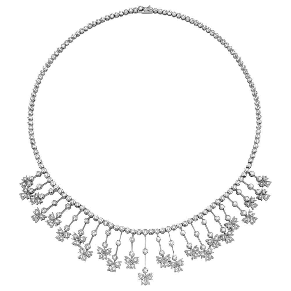 Genuine 5.32TCW 14K White Gold Ladies Necklace