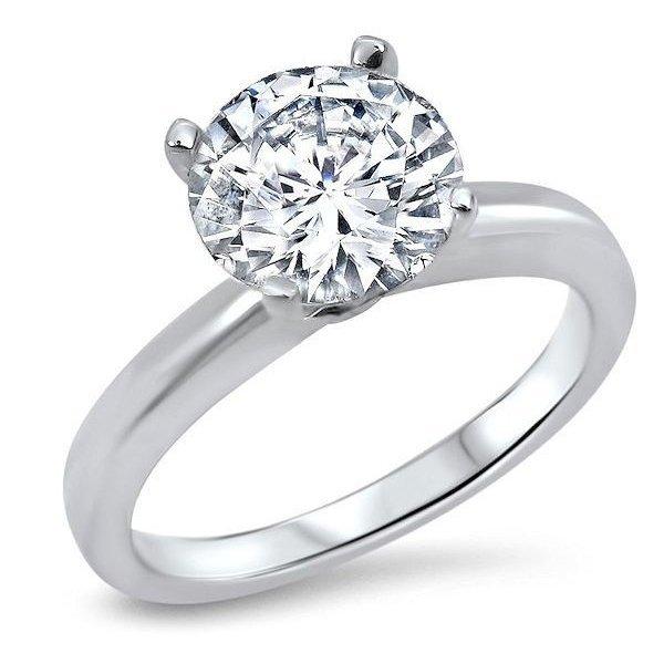 2 CT Round Cut Diamond 18K Gold Ring GIA Cert
