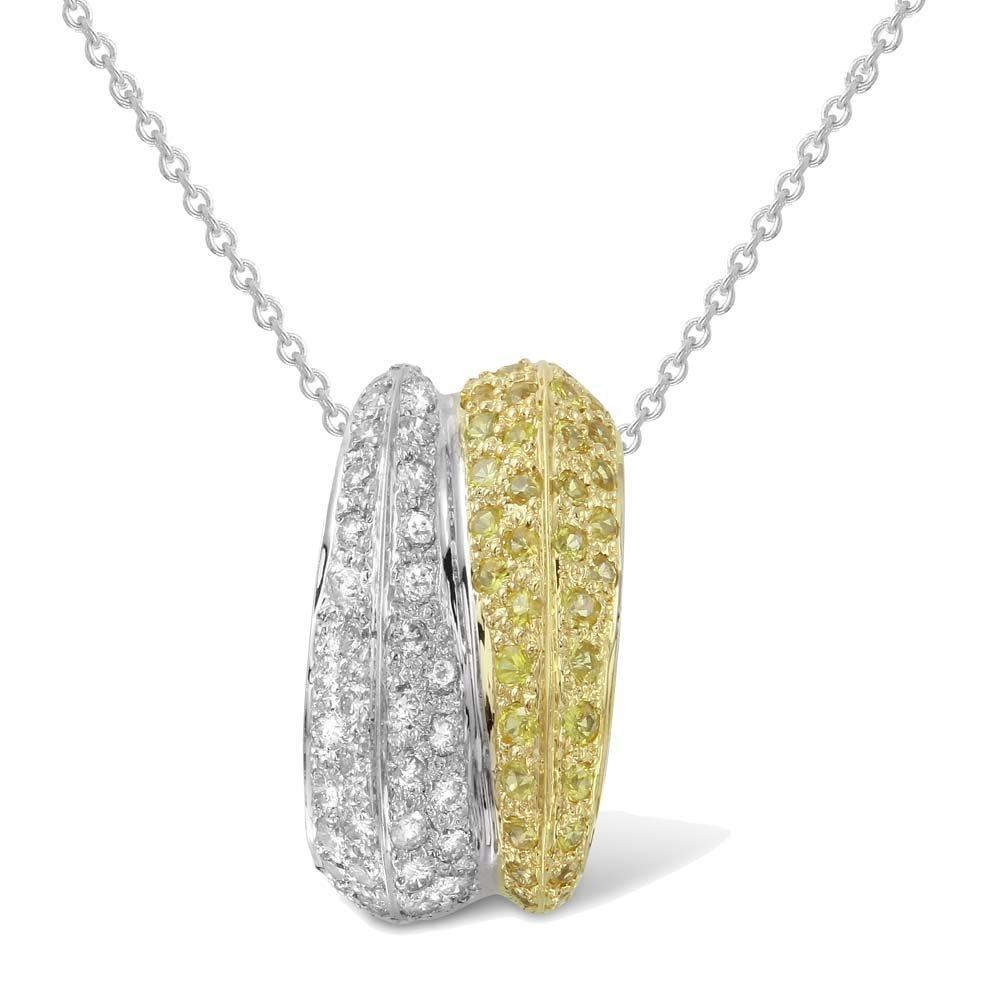 Genuine 0.9TCW 14K Two Tone Gold Ladies Pendant