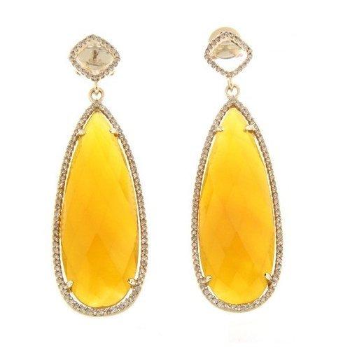24.34 CTW 14K Yellow Gold Ladies Earring