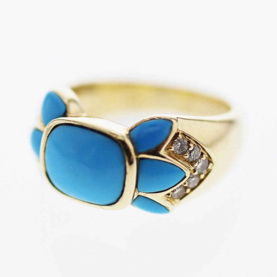 Cushion Turquoise w/ Diamond accent Ring in 14K Yellow