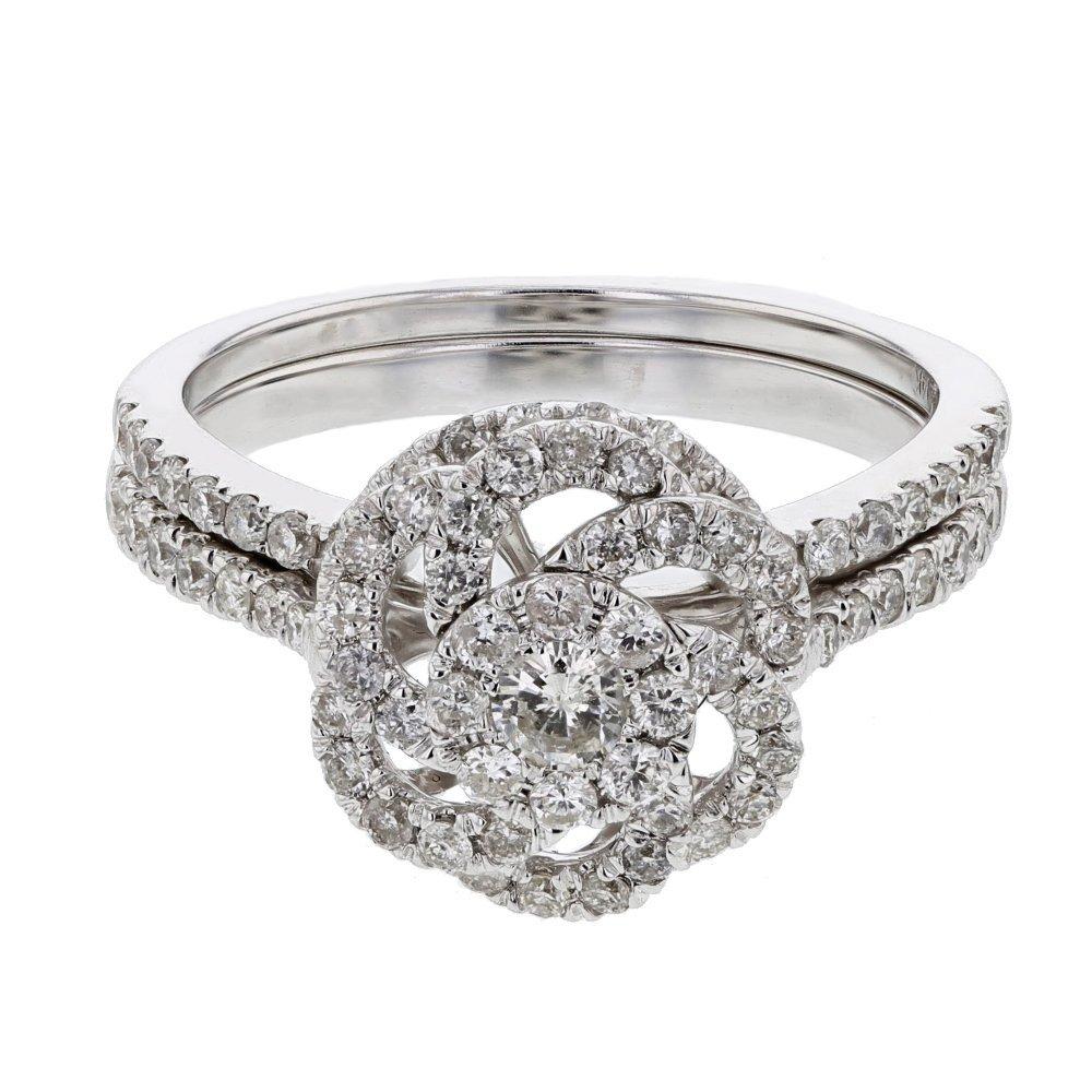 0.85 CTW 14K White Gold Ladies Wedding Ring Set