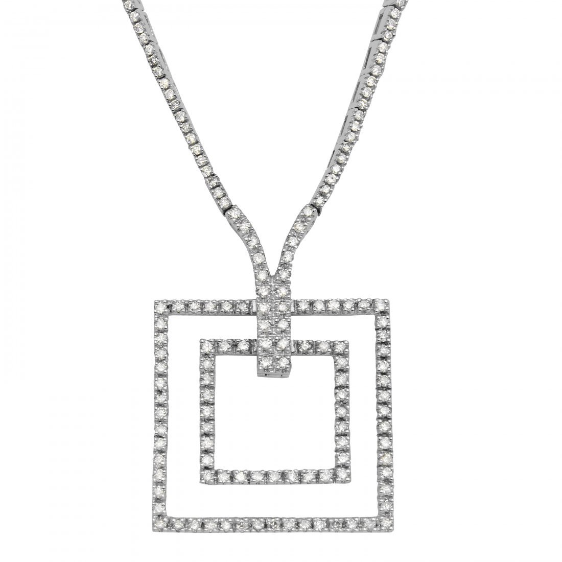 Genuine 2.25 TCW 14K White Gold Ladies Necklace