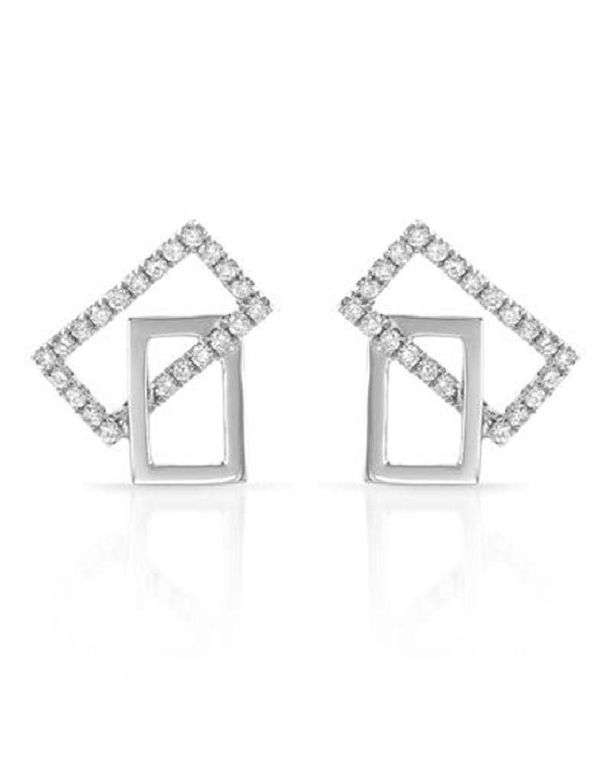 Genuine 0.25 TCW 14K White Gold Ladies Earring